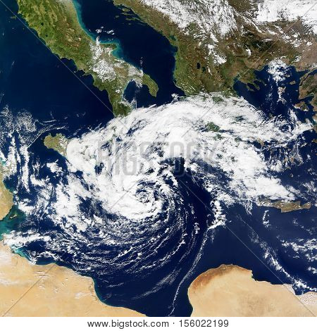 Cyclonic Storm in the Mediterranean. Elements of this image are furnished by NASA