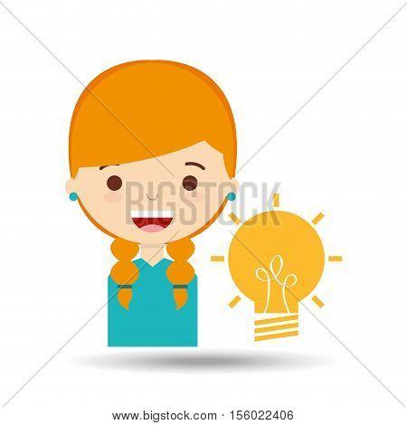 beatiful girl blonde student idea vector illustration eps 10