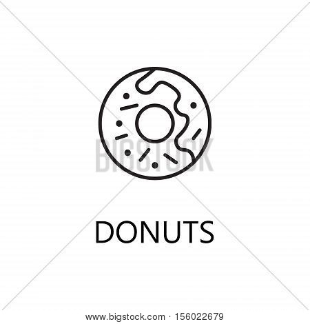 Donuts line icon. Single high quality symbol of fast food for web design or mobile app. Thin line signs of donuts for design logo, visit card, etc. Outline pictogram of donuts.