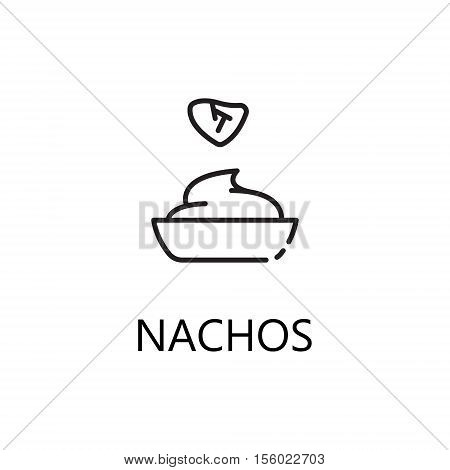 Nachos line icon. Single high quality symbol of fast food for web design or mobile app. Thin line signs of nachos for design logo, visit card, etc. Outline pictogram of nachos.