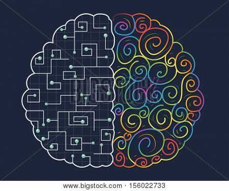 Conceptual Illustration of the Right and Left Hemispheres of the Human Brain