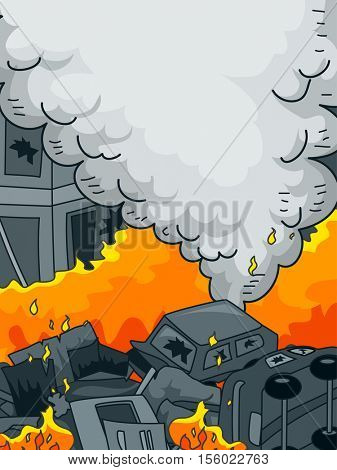 Anarchy Themed Illustration Featuring Burning Cars Set Alight by Arsonists
