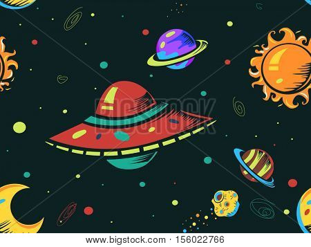 Seamless Background Illustration of Colorful Space Ships in Outer Space