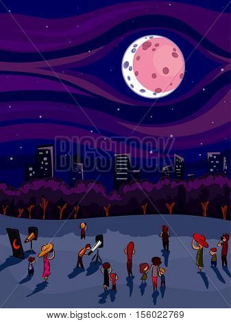 Illustration of a Crowd of People Gathered Around to Watch the Lunar Eclipse Together