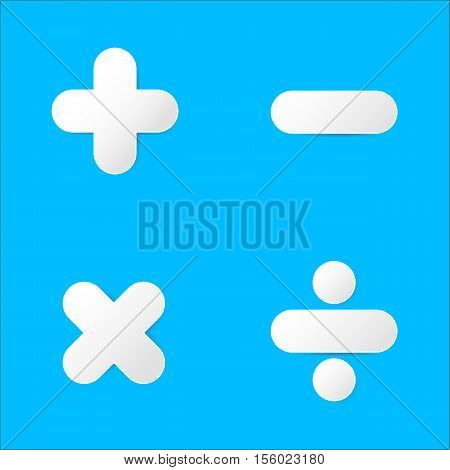 Math symbol : plus minus multiply divide in paper cut