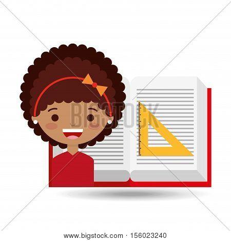 cute girl open book study ruler squad vector illustration eps 10