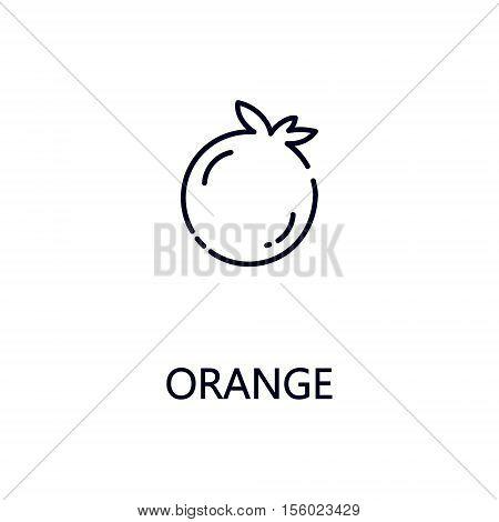 Orange flat icon. Single high quality outline symbol of fruit for web design or mobile app. Thin line signs of orange for design logo, visit card, etc. Outline pictogram of orange.