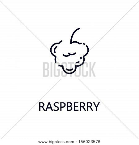 Raspberry flat icon. Single high quality outline symbol of fruit for web design or mobile app. Thin line signs of Raspberry for design logo, visit card, etc. Outline pictogram of Raspberry.