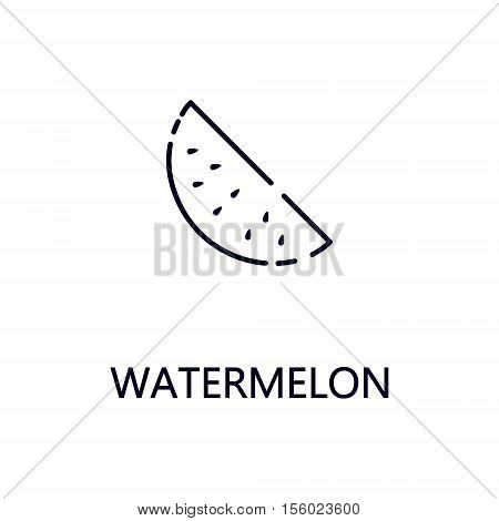 Watermelon flat icon. Single high quality outline symbol of fruit for web design or mobile app. Thin line signs of watermelon for design logo, visit card, etc. Outline pictogram of watermelon.
