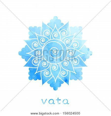 Vata dosha abstract symbol with watercolor texture in vector. Ayurvedic body type
