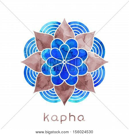 Kapha dosha abstract symbol with watercolor texture in vector. Ayurvedic body type