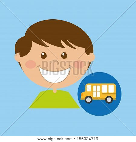 Boy going to school cartoon