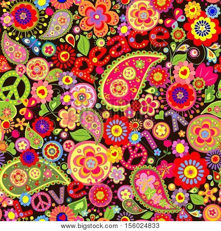 Wallpaper with colorful flower print with hippie symbolic