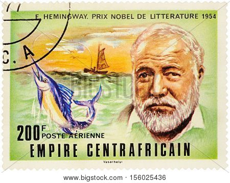MOSCOW RUSSIA - NOVEMBER 09 2016: A stamp printed in Central African Republic shows portrait of American writer Ernest Hemingway (1899-1961) series