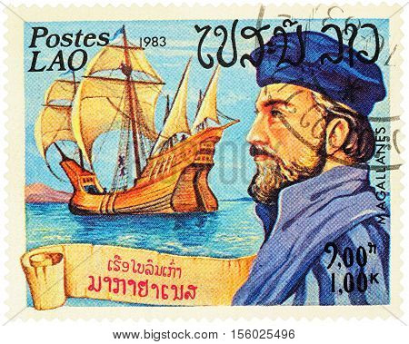 MOSCOW RUSSIA - NOVEMBER 08 2016: A stamp printed in Laos shows Ferdinand Magellan and his ship