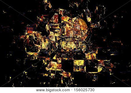 Yellow And Orange Debris On Black Background. Abstract Grunge Fractal Texture. 3D Render.