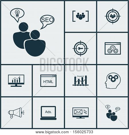 Set Of Marketing Icons On Website Performance, Seo Brainstorm And Focus Group Topics. Editable Vecto