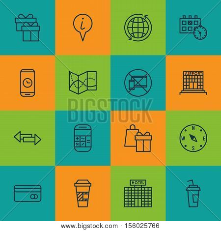 Set Of Traveling Icons On Crossroad, Present And Appointment Topics. Editable Vector Illustration. I
