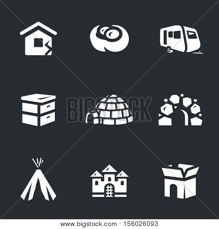 House, jack, auto trailers, beehive, needle, cave, wigwam, castle, box.