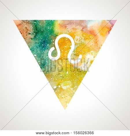 Leo zodiac sign on watercolor triangle background. Astrology symbol