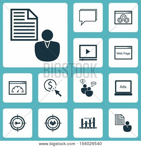 Set Of Seo Icons On Video Player, Seo Brainstorm And Report Topics. Editable Vector Illustration. In