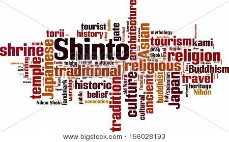 Shinto word cloud concept. Vector illustration on white