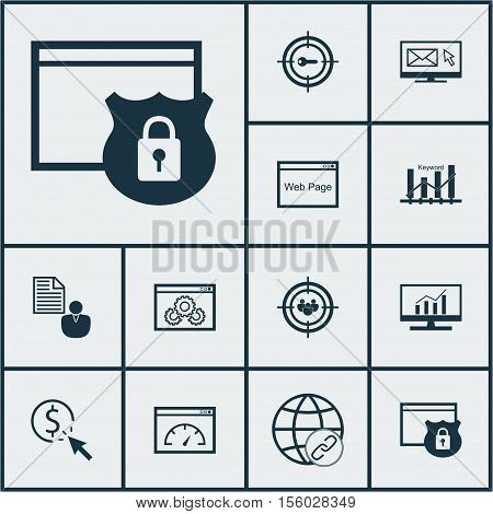 Set Of Marketing Icons On Market Research, Website And Security Topics. Editable Vector Illustration