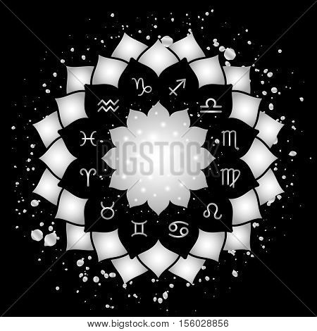 Astrology circle with signs of zodiac. Silver frame and splashes with zodiac astrological symbols. Vector illustration