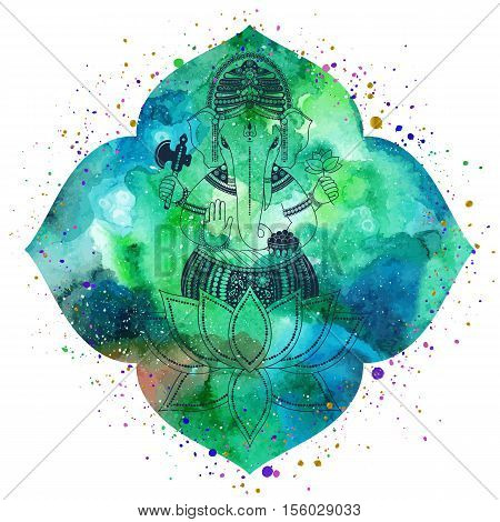 Ganesha or Ganapati Indian deity in the Hindu. Silhouette on a watercolor green lotus flower with paint splash. Vector illustration for design of prints web festive Chaturthi invitations.