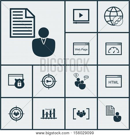 Set Of Marketing Icons On Coding, Security And Questionnaire Topics. Editable Vector Illustration. I