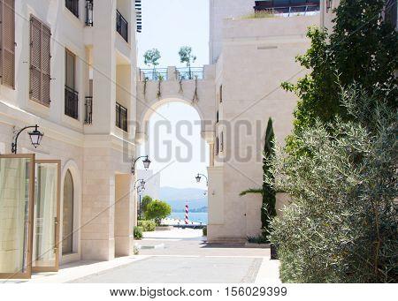 TIVAT, MONTENEGRO - 29 JULY 2016: Beautiful streets of Tivat. Porto Montenegro, luxury shopping village for yachtsmen.