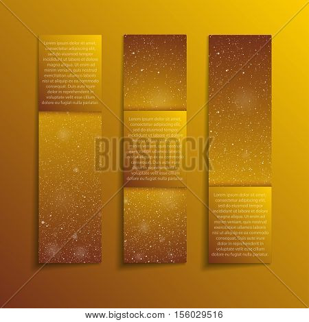 Set of Vertical Paper Gold Golden Rectangle Banners. Vector Illustration. Snow, Blizzard. Winter Holiday New Year and Christmas. Winter Sale and Discount. Mock up, Card.