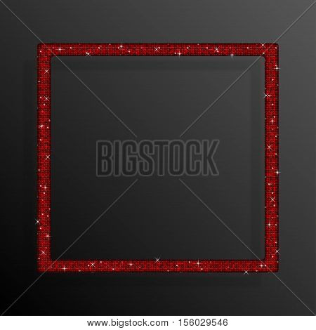Frame made of Red sequins in the form square. Mosaic sequins glitter sparkle stars.