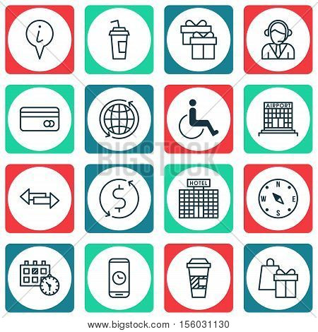 Set Of Traveling Icons On Accessibility, Hotel Construction And Crossroad Topics. Editable Vector Il