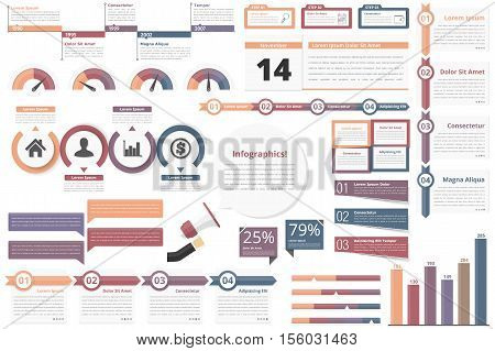 Infographic elements - timeline, process, charts, workflow, diagrams, steps, options, indocators, bar graph, vector eps10 illustration