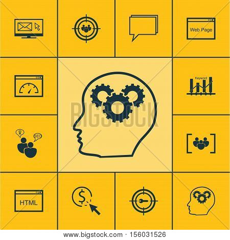 Set Of Seo Icons On Questionnaire, Keyword Marketing And Website Topics. Editable Vector Illustratio