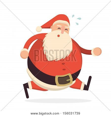 Santa Claus Running Hard And Getting Tired. Cute Cartoon Cheerful And Smiling Father Frost Character