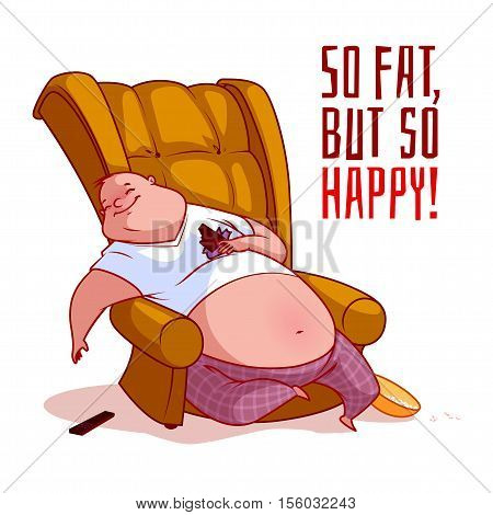 The fat man in a chair. So fat but so happy! Vector illustration on a white background.