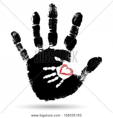 Vector concept or conceptual cute paint hand of mother child and heart shape isolated on white for art, care, childhood, family, fun, happy, infant, symbol, kid, little, love, mom, motherhood, young