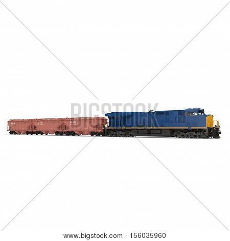 Freight train with hopper cars on white background. 3D illustration