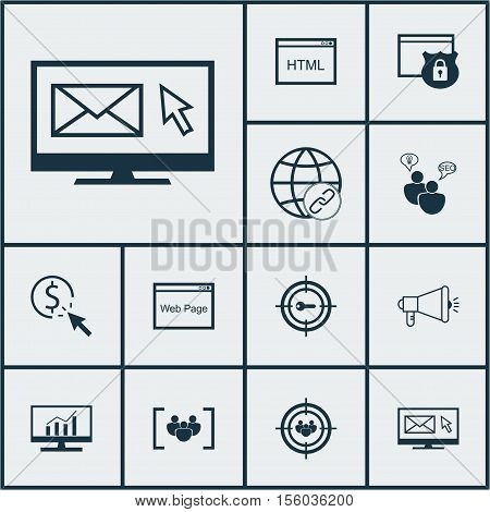 Set Of Marketing Icons On Keyword Marketing, Newsletter And Questionnaire Topics. Editable Vector Il
