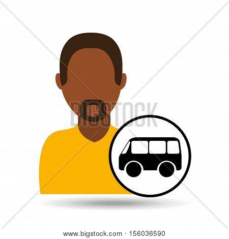 man bearded character bus vehicle transport vector illustration eps 10