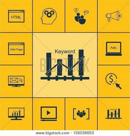 Set Of Marketing Icons On Digital Media, Keyword Optimisation And Video Player Topics. Editable Vect