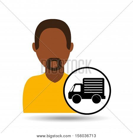man bearded character truck vehicle transport vector illustration eps 10