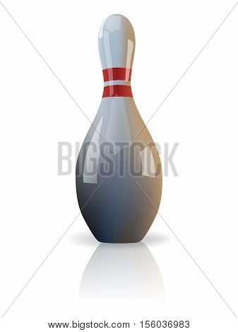 Vector realistic isolated bowling skittle on white background.