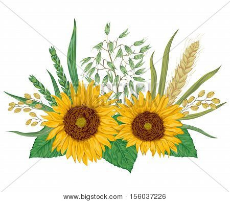 Sunflower, barley, wheat, rye, rice and oat. Collection decorative floral design elements. Isolated elements. Bouquet with cereals and flowers. Vintage vector illustration in watercolor style.
