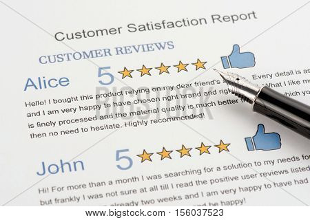 Customer Reviews Attachment to Customer Satisfaction Report