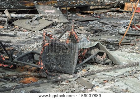 shot of the restaurant building burned out