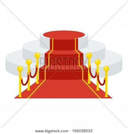 Red carpet isolated on a white background. Flat vector cartoon illustration.