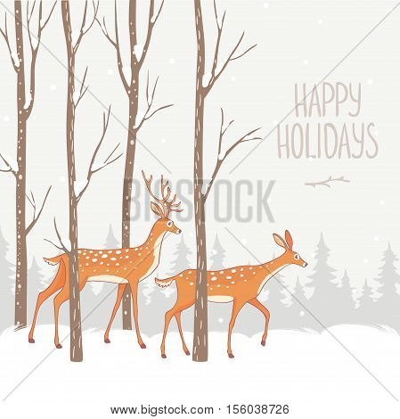 Beautiful and stylish illustration with amazing deer in winter forest. Gorgeous winter holiday card. Vector illustration